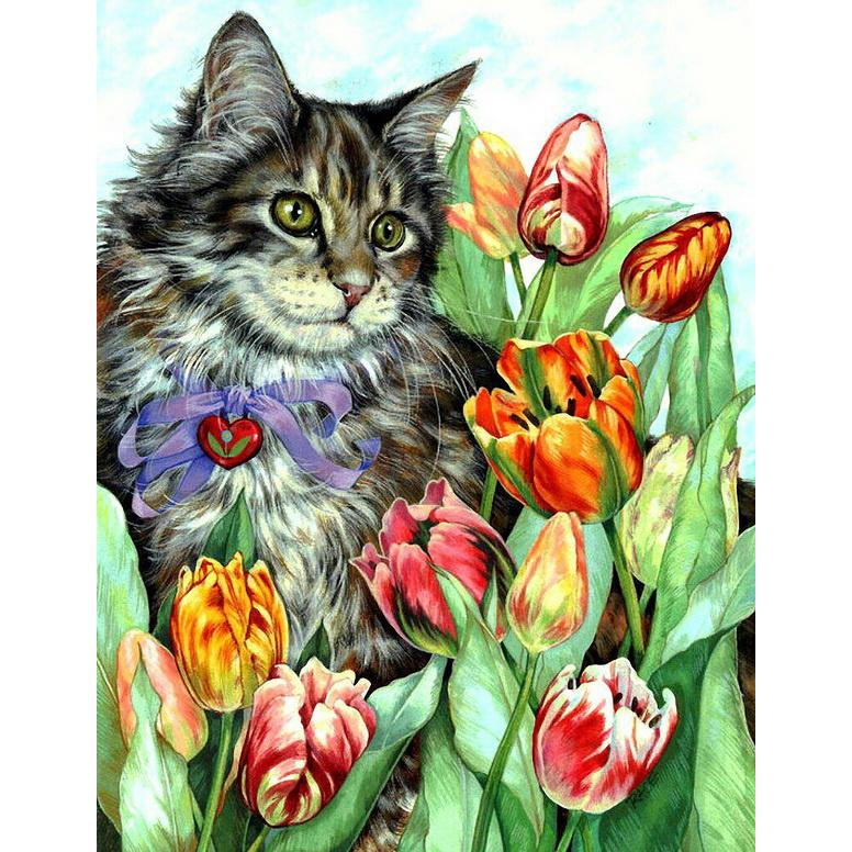 Открытка кошечка с цветами, девушки цветами днем